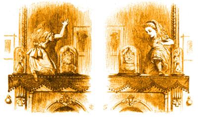 Dos ilustraciones de Sir John Tenniel para Through the Looking Glass, de Lewis Carroll, 1872.Los tópicos empobrecen la diversidad y entorpecen la creatividad, ya que distraen de la observación atenta de una nueva potencialidad con su  espejismo de lugar común.