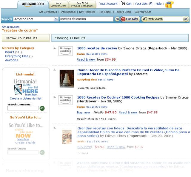 Página de resultados de búsqueda de Amazon