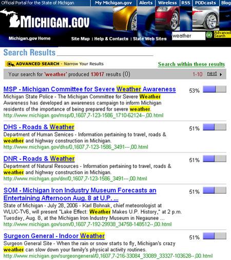 Página de resultados de búsqueda de Michigan.gov