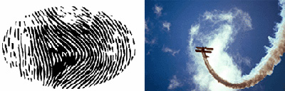 A la izquierda, ejemplo paradigmático de un índice: nuestras propias huellas digitales. A la derecha, se ve que el rastro que deja un elemento sobre otro mantiene con su referente una relación indicial.