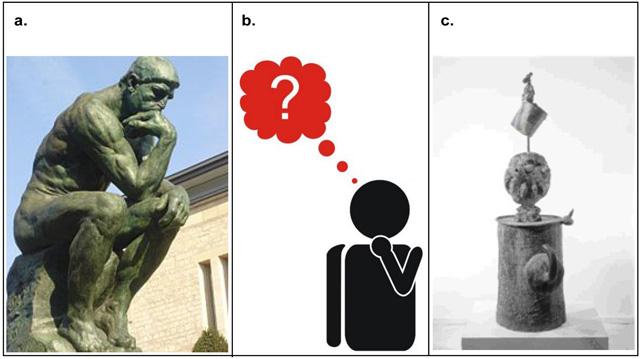 a. El Pensador de Auguste Rodin (1880). Nota legal: imagen bajo dominio público.b. Detalle del Pictograma Hombre pensante de Chema. Nota legal: esta imagen se reproduce acogiéndose al derecho de cita o reseña (art. 32 LPI) y está excluida de la licencia por defecto de estos materiales.c. Escultura Personaje de Joan Miró (1971). Nota legal: esta imagen se reproduce acogiéndose al derecho de cita o reseña (art. 32 LPI) y está excluida de la licencia por defecto de estos materiales.