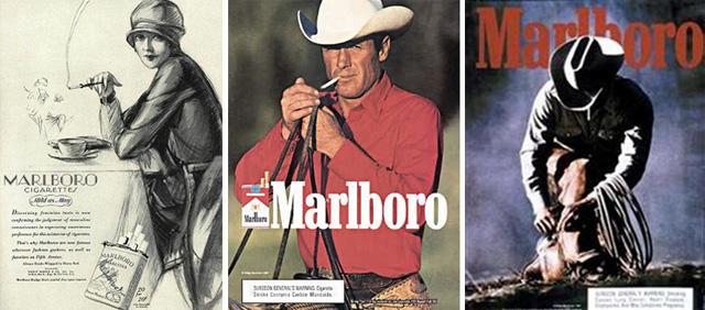 """Vemos tres imágenes representando tres fases en la publicidad de la marca Marlboro. En un inicio, se quería promover la marca como tabaco para mujeres; entonces se dio un cambio radical, surgiendo la campaña """"El hombre Marlboro, un cowboy libre e independiente"""", creada por Leo Burnett. Seguimos teniendo el mismo protagonista: el hombre Marlboro, pero sin mostrar el producto; no nos hace falta, pues el personaje ya está en nuestra memoria colectiva; es inherente a la marca.Nota legal: estas imágenes se reproducen acogiéndose al derecho de cita o reseña (art. 32 LPI) y está excluida de la licencia por defecto de estos materiales."""