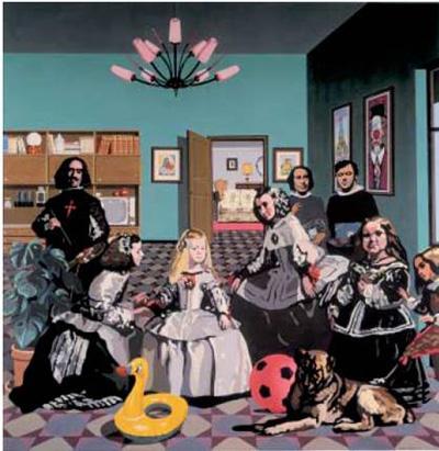 El Equipo Crónica (1963-1981) fue un grupo de artistas españoles que realizaron una crítica del sistema establecido, el franquismo, mediante la ironía. A pesar de tener una apariencia de estilo pop-art, divertida, fresca e informal, hay una intención de fondo: hacer reflexionar al espectador sobre la arcaica situación que vivía el país. Con esta peculiar reinterpretación de Las meninas de Velázquez, el Equipo Crónica se autorretrata irónicamente. En la obra, destacan dos elementos: un flotador y una pelota, de colores brillantes y en primer plano: se pretende definir una España de playa y fútbol.Nota legal: © Equipo Crónica: Las meninas o la salita (1970). Esta imagen se reproduce acogiéndose al derecho de cita o reseña (art. 32 LPI) y está excluida de la licencia por defecto de estos materiales.