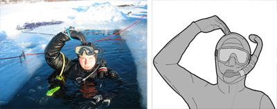"""El submarinista hace la indicación """"OK"""" (de acuerdo). Si no conocemos el código es imposible interpretar su gesto. Este signo es un símbolo.Fuente de la imagen izquierda: © Sergey Dukachev & Vyacheslav Maximov (2007). GFDL 1.2. Publicada en wikimedia commons.Fuente de la imagen derecha: © Mikkelbg (2009). Creative Commons Reconocimiento Compartir Igual 3.0-es. Publicada en wikimedia commons."""