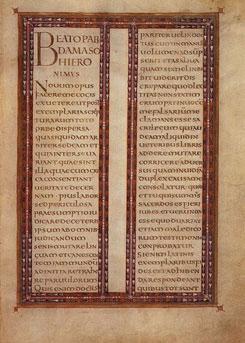 Pàgina extreta de Lorsch Gospels, un dels molts escrits fets en l'època del regnat de Carlemany, impulsor de la cultura i salvaguarda dels escrits antics.Nota legal: imatge sota domini públic procedent de wikimedia commons. Publicada per CristianChirita (2005).