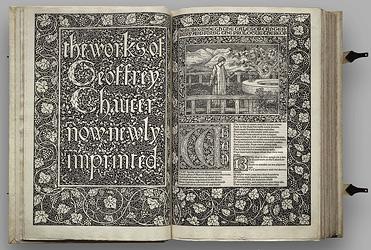 Cal destacar, entre d'altres, l'obra The works of Geoffrey Chaucer (1896), considerat un dels llibres més bonics editats mai. Kelmscott Press en fou l'editorial encarregada.Nota legal: imatge sota domini públic
