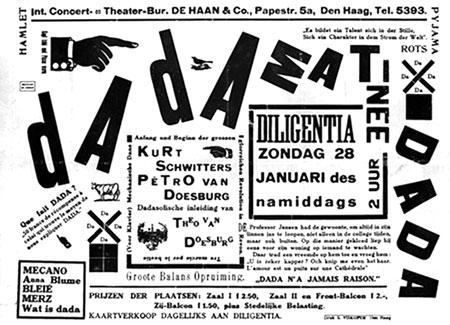 Pòster Dada Matinée de Theo van Doesburg (1923). Combinació de tipografia i imatge, amb un resultat caòtic, que juga amb diferents fonts i estils. Nota legal: imatge sota domini públic procedent de wikimedia commons publicada per Vincent Steenberg (2009).