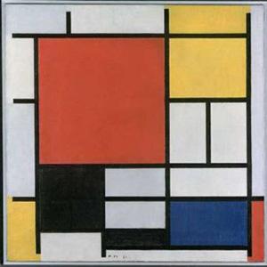 Un dels creadors més reconeguts del moviment De Stijl serà el pintor Piet Mondrian (1872-1944). Amb aquesta obra Composició en groc, blau i vermell (1937-1942), podem veure reflectides les característiques del neoplasticisme. Nota legal: aquesta imatge es reprodueix acollint-se al dret de citació o ressenya (art. 32 LPI) i està exclosa de la llicència per defecte d'aquests materials.