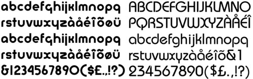 Formes mínimes dels tipus, recerca i experimentació tipogràfiques màximes. A l'esquerra, font tipogràfica Bayer (1925). A la dreta, font tipogràfica Bauhaus (1975).Nota legal: visualització de les fonts tipogràfiques extretes d'http://www.identifont.com