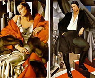 Tamara de Lempicka. Retrat de Madame Boucard (1931) i Retrat de la Duquessa de la Salle (1925). Les obres de l'artista Tamara de Lempicka (1898-1980) representen com cap altra l'estil de vida glamorós i fascinant de l'estil déco. Nota legal: aquestes imatges es reprodueixen acollint-se al dret de citació o ressenya (art. 32 LPI) i està exclosa de la llicència per defecte d'aquests materials.