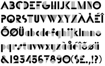 Font tipogràfica Bifur (1929) de Cassandre. Font d'aspecte molt cridaner, amb una simplificació de les formes dels seus caràcters molt marcada; es noten les influències formals de la Bauhaus. És un exponent clar de l'estil déco. Nota legal: visualització de la font tipogràfica extreta d'http://www.identifont.com
