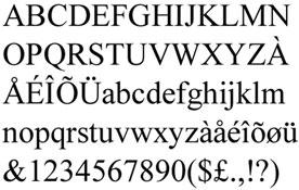 La Times New Roman (1932) creada per a Monotype és una tipografia que, com el seu adjectiu indica –roman–, pren influències de les antigues majúscules romanes. És un tipus d'estil humanista antiga: utilitza terminals, amb un contrast mitjà entre els traços i amb modulació vertical.Nota legal: visualització de la font tipogràfica extreta d'http://www.identifont.com