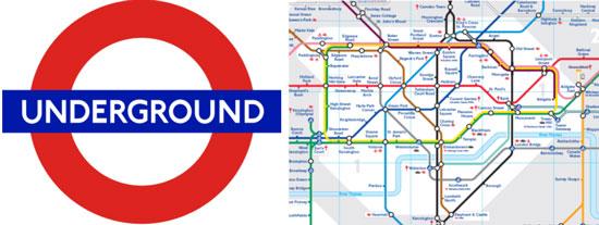 Imatge del famós Roundel, el logo del Metro de Londres encara utilitzat avui en dia. Aquest, juntament amb el plànol del metro, Tube map, redissenyat d'una manera esquemàtica per Henry Beck el 1931, va esdevenir un abans i un després en la senyalització de les ciutats. Totes dues imatges són un emblema dins de la història del disseny gràfic. Font. Logo: imatge sota domini públic procedent de wikimedia commons publicada per Dream out loud el 2007. Mapa: aquesta imatge es reprodueix acollint-se al dret de citació o ressenya (art. 32 LPI) i està exclosa de la llicència per defecte d'aquests materials.