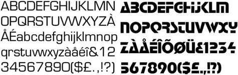 La tipografia Eurostyle (1962) i l'Stop (1971), respectivament, ambdues creades per Aldo Novarese. Reflecteixen l'atracció pel progrés i pel futur tecnològic.Nota legal: visualització de les fonts tipogràfiques extretes d'http://www.identifont.com