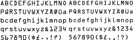 Tipografia OCR-A (dècada de 1960) i la seva evolució posterior l'OCR-B (dècada de 1970). La creació de tipografies específiques per a aplicacions tecnològiques s'adeqüen i evolucionen segons els requeriments tècnics.Nota legal: visualitzacions de les fonts tipogràfiques extretes d'http://www.identifont.com