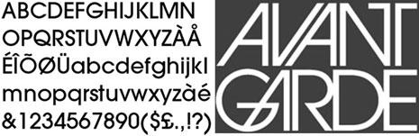 """Font tipogràfica Avant Garde (1970) de Herb Lubalin i Tom Carnasse que pren forma a partir del logotip fet per a la revista Avant Garde. Font del tipus geomètriques de pal sec, amb reminiscències clares de les tipografies creades a la Bauhaus, amb una geometria òbvia en les formes, i deixa grans blancs interns i té una altura elevada de la """"x"""" que en facilita la llegibilitat. És una tipografia molt utilitzada encara avui en dia. Nota legal: visualització de la font tipogràfica extreta d'http://www.identifont.com"""
