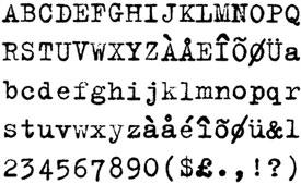 La font tipogràfica Trixi (1989), dissenyada per Erik van Blokland per a l'empresa LettError, representa un exemple clar de com es buscava aquesta imperfecció en les formes tipogràfiques.Nota legal: visualització de la font tipogràfica extreta d'http://www.identifont.com