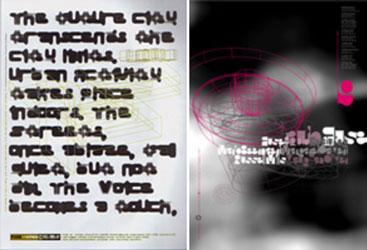 Tipografia desconstructivista i portada de FUSE de Neville Brody que marca tendències al final de la dècada de 1980 fins a l'inici de la de 1990. Nota legal: aquestes imatges es reprodueixen acollint-se al dret de citació o ressenya (art. 32 LPI) i està exclosa de la llicència per defecte d'aquests materials.