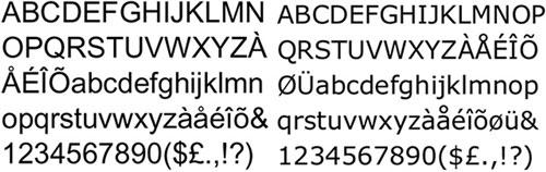 A l'esquerra, font tipogràfica Arial (1982). A la dreta, font tipogràfica Verdana (1996). La Verdana i l'Arial són fonts tipogràfiques pensades per a integrar-se perfectament als nous mitjans: pantalla, impressores, etc. Nota legal: visualització de les fonts tipogràfiques extretes d'http://www.identifont.com