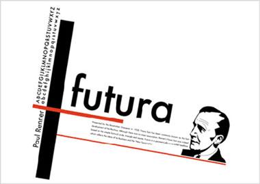 Pòster gràfic per a publicitat de la font tipogràfica Futura (1925) Nota legal: aquesta imatge es reprodueix acollint-se al dret de citació o ressenya (art. 32 LPI) i està exclosa de la llicència per defecte d'aquests materials.