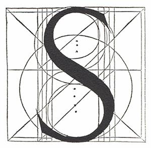 Exemple de la geometria emprada per a dibuixar una lletra S en caixa alta. Lletra S de Fra Luca Pacioli: De divina proporcione, Paganino dei Paganini, Venècia (1509). Nota legal: imatge sota domini públic procedent de wikimedia commons publicada per AFBorchert (2006).
