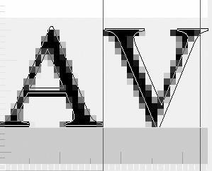 Visualització dels caràcters tipogràfics AV en què es mostren tant els seus contorns (vectors) com el seu equivalent, producte del tramatge dels vectors a píxels (mapa de bits).Nota legal: © UOC. Creative Commons Reconeixement Compartir Igual 3.0-es. Imatges d'elaboració pròpia basades en gràfics extrets de Wikimedia Commons.