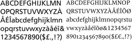 A la dreta la Frutiger serif (2008), que es basa en la font Meridien (1957), també dissenyada per Frutiger. No es tracta sols de posar traços terminals sinó de cercar la millor combinació possible.Nota legal: visualització de les fonts tipogràfiques extretes d'http://www.identifont.com