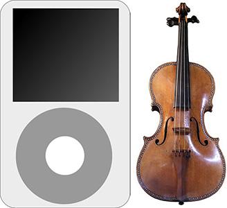 Des del famós violí Stradivarius fins al modern iPod d'Apple, tots dos apliquen la proporció àuria als seus productes. Nota legal: © Håkan Svensson (2009). Creative Commons Reconeixement Compartir Igual 3.0-es. Publicada a wikimedia commons. © Paranomia (2009). Creative Commons Reconeixement Compartir Igual 3.0-es. Publicada a wikimedia commons.