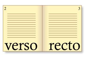En la tradició bibliogràfica i d'impremta, s'utilitza la denominació llatina: la pàgina esquerra del lector, que porta numeració senar, s'anomena verso ('revers') i la de la dreta, que porta numeració parell, rectus ('anvers'). Nota legal: imatge sota domini públic procedent de wikimedia commons publicada per Tkgd2007 (2008).