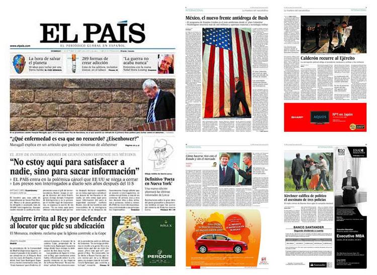 Portada d'El País i dos exemples de pàgines interiors. Es veu clarament la reticulació emprada i les variacions segons siguin els continguts. Nota legal: © El País, Grupo PRISA (2009). Aquestes imatges es reprodueixen acollint-se al dret de citació o ressenya (art. 32 LPI) i estan excloses de la llicència per defecte d'aquests materials. Publicat a http://www.elpais.com