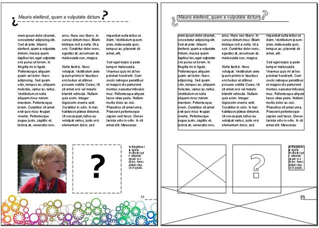 Compaginació d'una pàgina DIN A4 mitjançant combinació de caixes de text i caixes d'imatges. La visualització en esquema ens dóna les particularitats internes de cada element.Nota legal: © UOC. Creative Commons Reconeixement Compartir Igual 3.0-es. Imatge d'elaboració pròpia