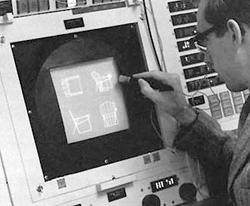 Fotògraf desconegut. Aquesta imatge es reprodueix acollint-se al dret de citació o ressenya (art. 32 LPI), i està exclosa de la llicència per defecte d'aquests materials. Sketchpad, un programari de dibuix de gràfics d'enginyeria per a l'ordinador TX-2. Creat el 1963 per Ivan Sutherland com a part del seu doctorat en el Massachusetts Institute of Technology, va ser la primera interfície gràfica d'usuari per a ordinadors.