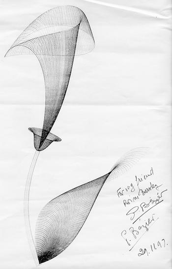 © Descendents Pierre Bézier. Aquesta imatge es reprodueix acollint-se al dret de citació o ressenya (art. 32 LPI), i està exclosa de la llicència per defecte d'aquests materials. Obra de Pierre Bézier feta utilitzant corbes de Bézier.