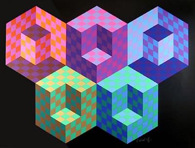 © Victor Vasarely, VEGAP 2000. Esta imagen se reproduce acogiéndose al derecho de cita o reseña (art. 32 LPI), y está excluida de la licencia por defecto de estos materiales. Algunas formas visuales ambiguas pueden percibirse de varias maneras distintas. Esta obra de Víctor Vasarely juega con la profundidad y el volumen sugerido por las formas cúbicas.