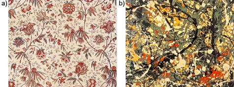"""a) Manufactura Oberkampf (Jouy) 1785. Estampación """"indiana"""". Impresión de plancha de madera sobre algodón. Actualmente en el Musée de l'Impression sur Etoffes (Mulhaus, Francia). b) © Jackson Pollock, VEGAP 2000.Estas imágenes se reproducen acogiéndose al derecho de cita o reseña (art. 32 LPI), y están excluida de la licencia por defecto de estos materiales."""