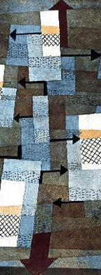 En esta acuarela Paul Klee ha hecho visibles a través de flechas algunas de las fuerzas visuales que actúan en la composición. Las flechas visibles se suman al efecto visual del resto de elementos y agudizan la dinámica del cuadro. El resultado es efectivamente un equilibrio inestable. Paul Klee, VEGAP. Esta imagen se reproduce acogiéndose al derecho de cita o reseña (art. 32 LPI), y está excluida de la licencia por defecto de estos materiales.