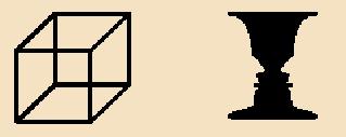 Ejemplo de percepción multiestable. Representación de Alan De Smet basada en el Cubo de Necker y en el Vaso de Rubin. Imagen bajo dominio público. Alan De Smet (2007).