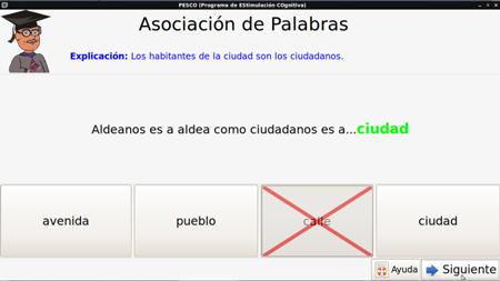 Ejemplo de tarea de memoria verbal del programa PESCO. Fuente: web de PESCO.